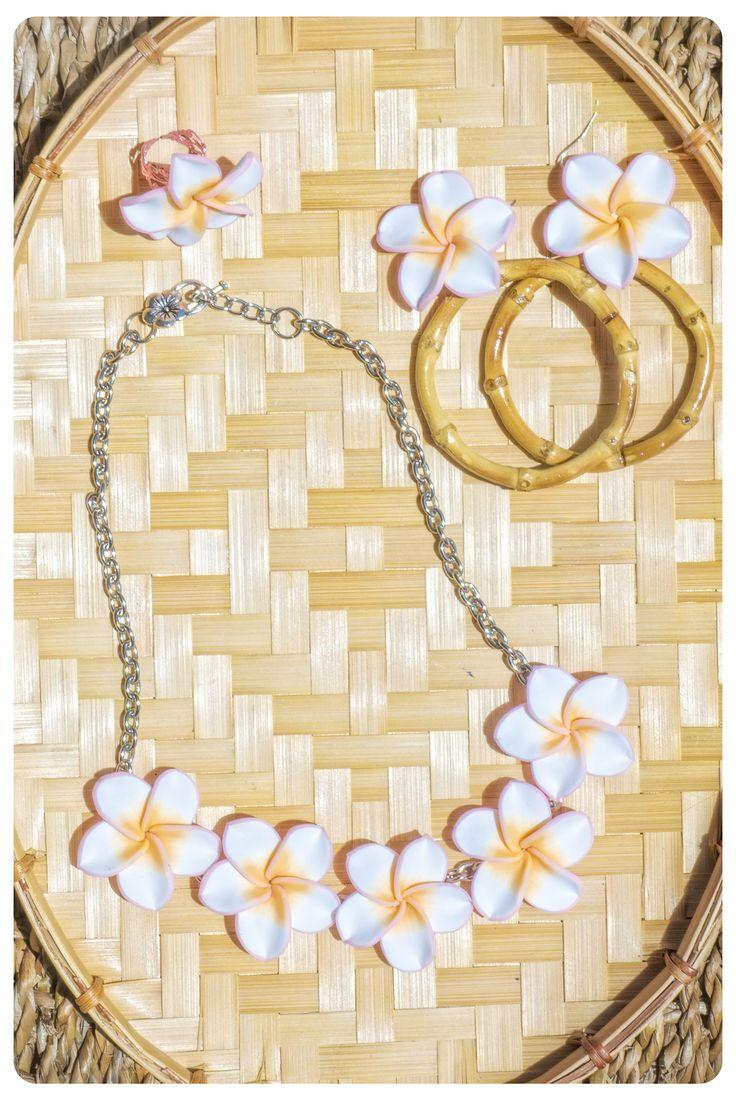 Light Pink  White plumeria  bamboo set plumeria necklace plumeria  bamboo hoop earrings plumeria ring