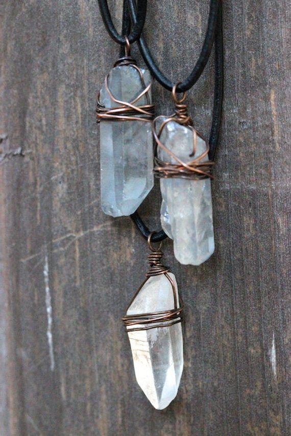 Quartz Crystal Necklace Raw Crystal Necklace Healing Crystal