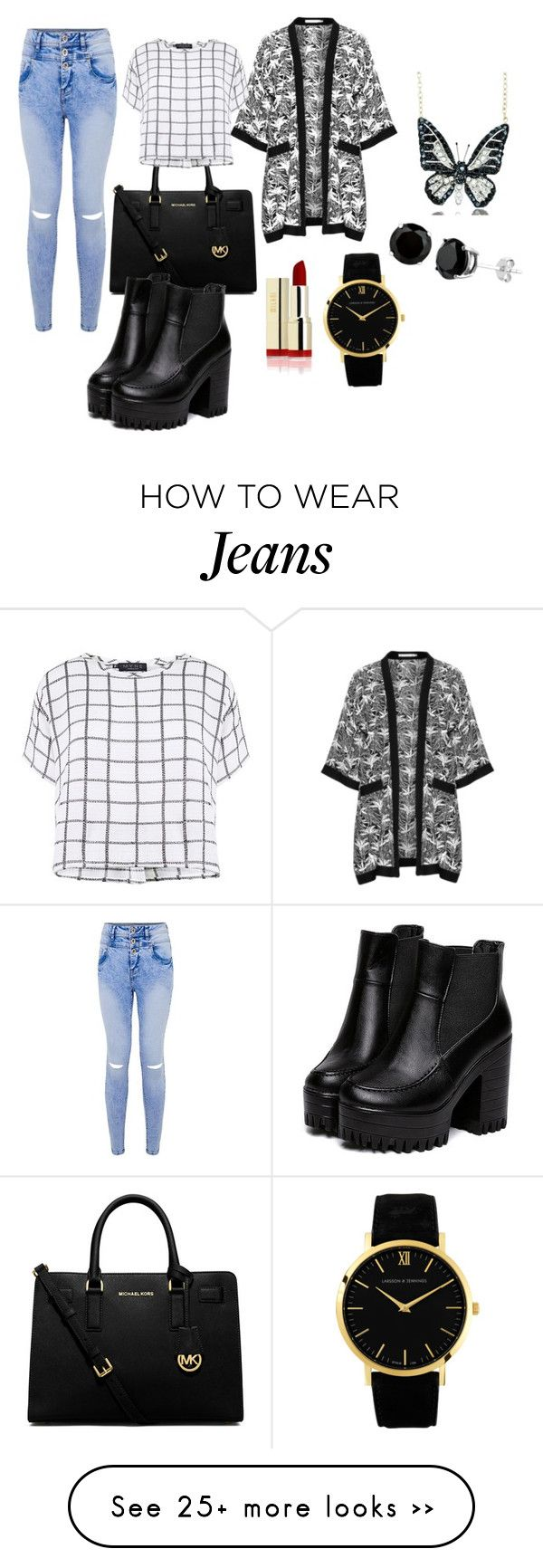 """Casual Jeans Look"" by littlemissfashionista13 on Polyvore featuring MICHAEL Michael Kors, Studio, Larsson & Jennings, Andrew Hamilton Crawford and Myne"