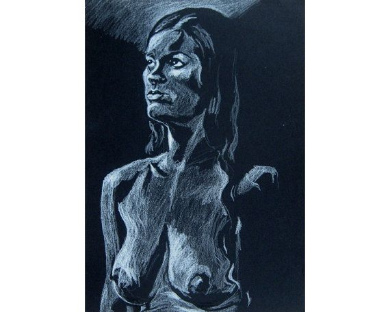 Head and Shoulders, original artwork on black paper life drawing nude female figure on Etsy, £60.00