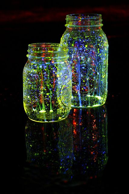 star jars; made by snapping Glow Sticks open