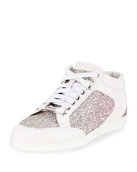 645e916c5e74 Miami Leather and Glitter Sneaker by Jimmy Choo at Neiman Marcus ...