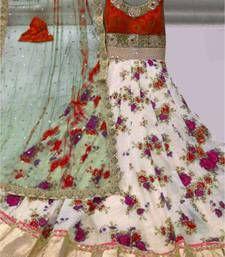 Buy White and Red Bhagalpuri silk embroidered semi stitiched salwar with dupatta anarkali-salwar-kameez online