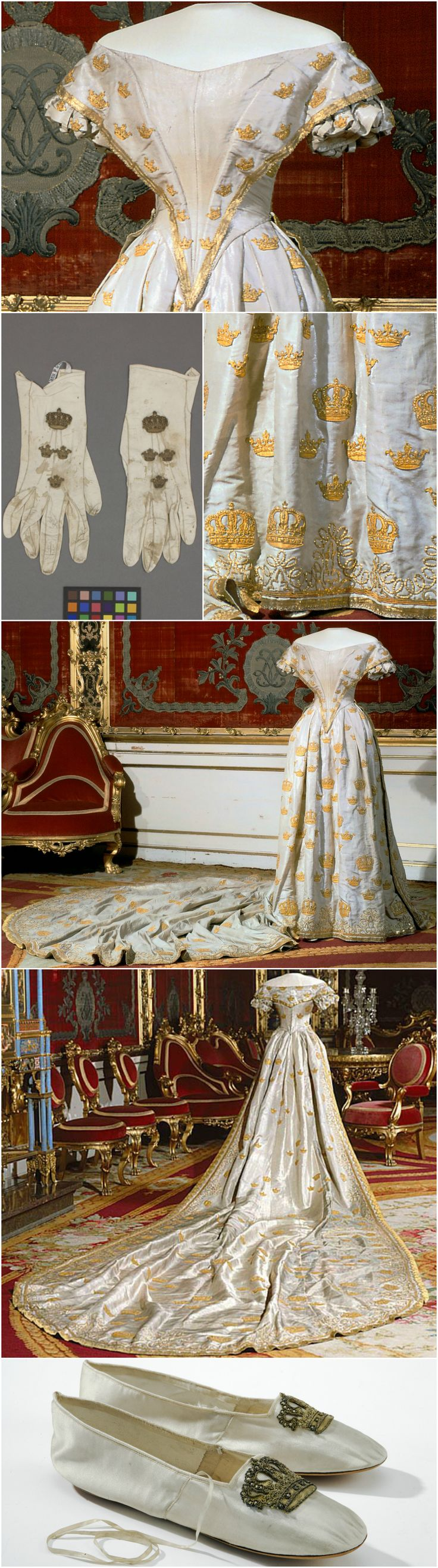 Coronation outfit (dress, gloves, shoes), 1860, at the Royal Armory, Stockholm. Worn by Queen Lovisa of Sweden (née Princess Louise of the Netherlands) for her coronation at Stockholm Cathedral on May 3, 1860. CLICK THROUGH FOR BIGGER IMAGES.