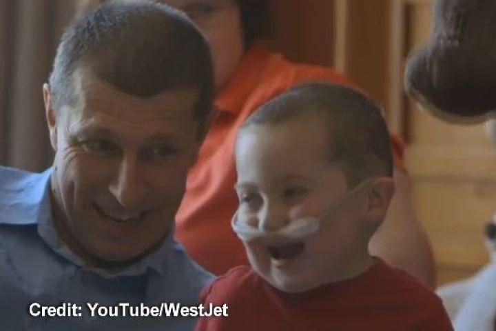 WATCH: WestJet reunites Saskatchewan father with his sick child in Edmonton