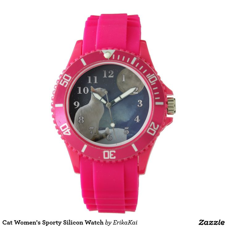 White Cat and Moon Women's Sporty Silicon Watch, white or pink.