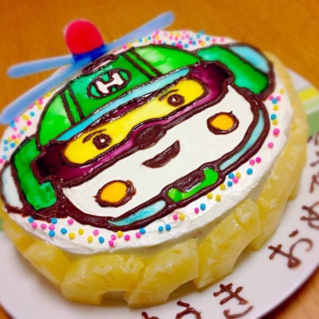 またまたSDお久しぶり…(^_^;) 先週チビちゃんの3歳の誕生日にリクエストされたロボカーポリーのヘリーのケーキ。 まあ…なんとかそれらしく( ̄▽ ̄) 中はチョコのスポンジにホイップとパイン( ´ ▽ ` ) - 28件のもぐもぐ - ヘリー バースデーケーキ by Hosshii