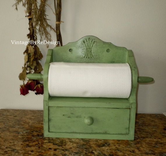 Vintage Paper Towel Holder With Drawer Hand Painted In