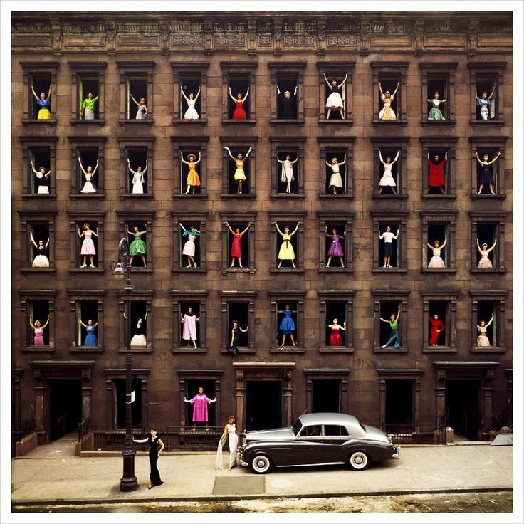 "'Girls in the Windows' by Ormond Gigli 1960. Inspiration: ""While a construction crew dismantled a row of brownstones right across from my own brownstone studio on East 58th Street, I was inspired to somehow immortalize those buildings. I had the vision of 43 women in formal dress adorning the windows of the skeletal facade.""...Breathtaking: Ormondgig, New York Cities, Girls Generation, Formal Dresses, Ormond Gig, Art, Windows, Photography, 1960"