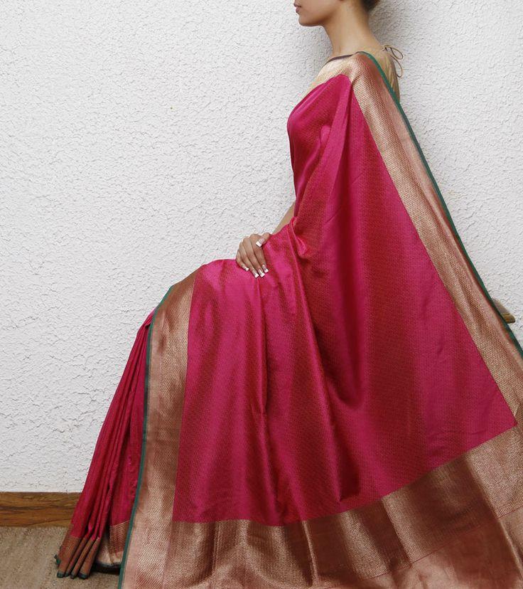 Pink Silk Handwoven Saree.