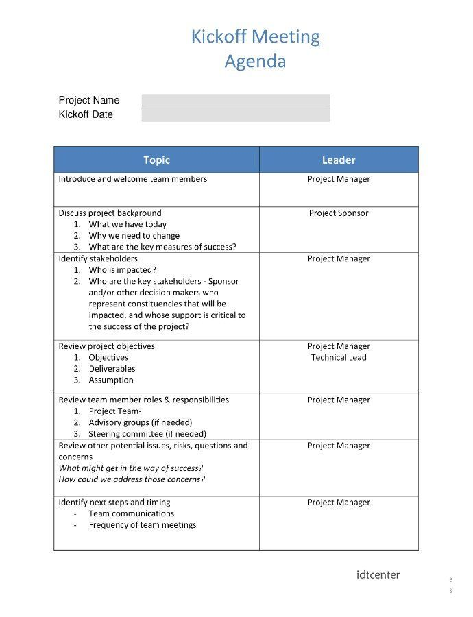 Project Management Kickoff Meeting Agenda Template Meeting Agenda Template Agenda Template Kickoff Meeting