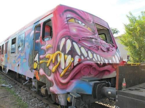 If you're going to paint on a train I suppose this is the way to do it! Thanks to the submitter - the location has been withheld.