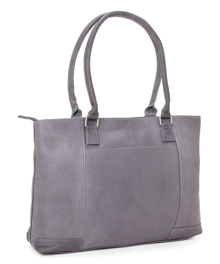 Gray Leather Laptop Tote