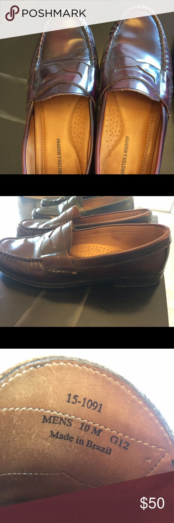 Johnson and Murphy men's dress shoes- red Johnson and Murphy. Worn 8 times. Dark red/brown color. Size 10. Shoes Loafers & Slip-Ons