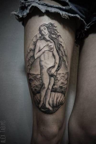 "Sandro Botticelli's ""The Birth of Venus"" inspired blackwork style tattoo on the…"