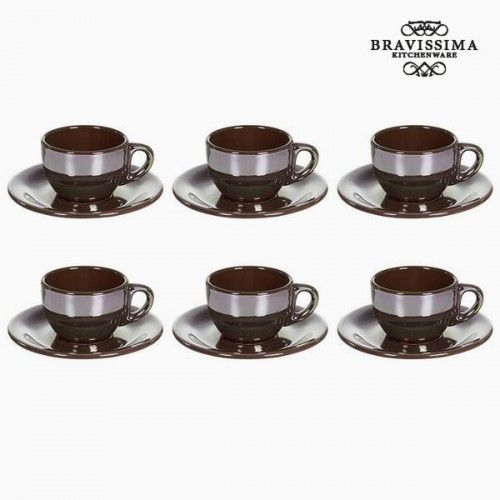 Tea set China crockery Brown (12 pcs) - Kitchen's Deco Collection by Bravissima Kitchen