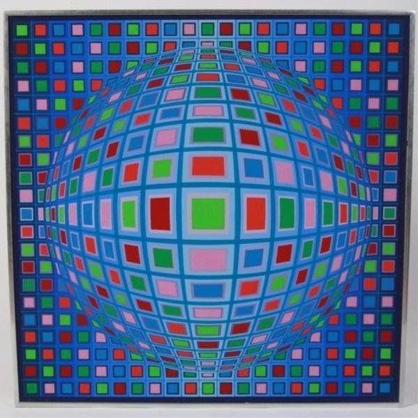 "Victor Vasarely (French/Hungarian, 1906-1997). ""Kela-Mc"". 1969-1972. Tempera on board. Signed bottom center. Image 24"" x 24"", frame 24 1/2"" x 24 1/2"". Original painting, estimate 50-60,000."