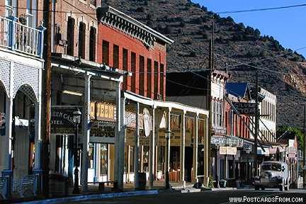 Virginia City NV 10-6-12 a steep spiraling road leads to the high reaches of this town made famous by the TV show Bonanza.  The streets were packed with people attending the Outhouse Derby when we were there!