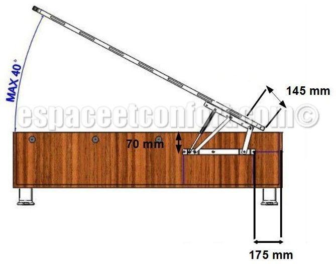 Croquis montage m canisme lit coffre chambre bureau - Housse de coussin 65 65 ...