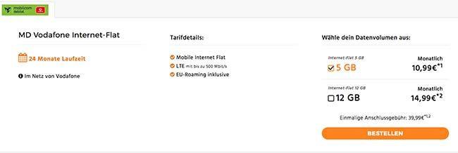 Bis zu 12 GB LTE - Vodafone Internet Flat ab 10,99€ http://www.simdealz.de/datentarif/mobilcom-debitel-internet-flat-vodafone/