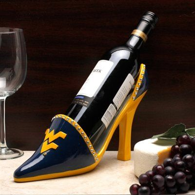 West Virginia Mountaineers High Heel Shoe Bottle Holder - Navy Blue/Old Gold
