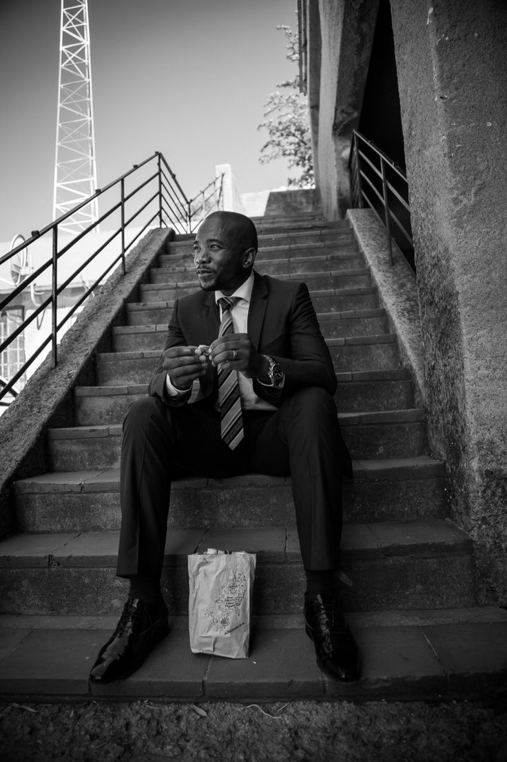 2014 Election memory Honorable Mmusi Maimane takes a quick lunch break during the filming of #ayisafani commercial in Alexandra Township