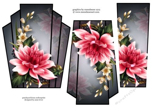 Art Deco Stacker - Pink Dahlia by Anne Lever This lovely art deco style shaped topper has two stacker layers to add depth. It features a beautifully painted Pink dahlia bloom.