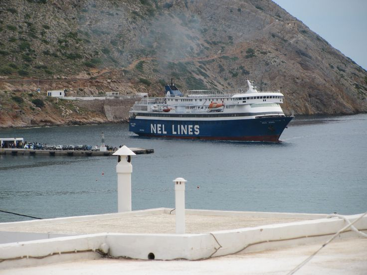 Ferry arriving at the port in Kamares.