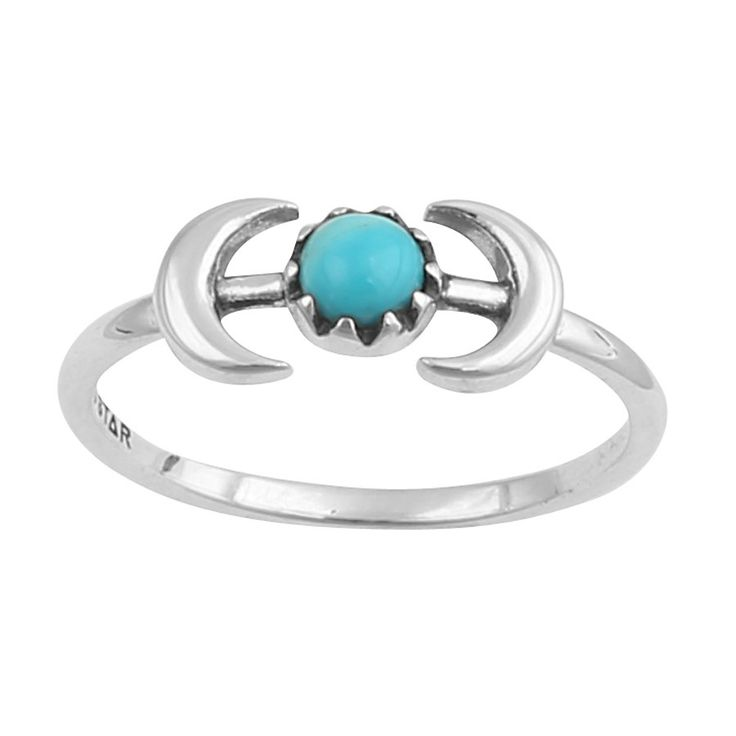 Image of Sterling Silver Double Moon With Turquoise Ring