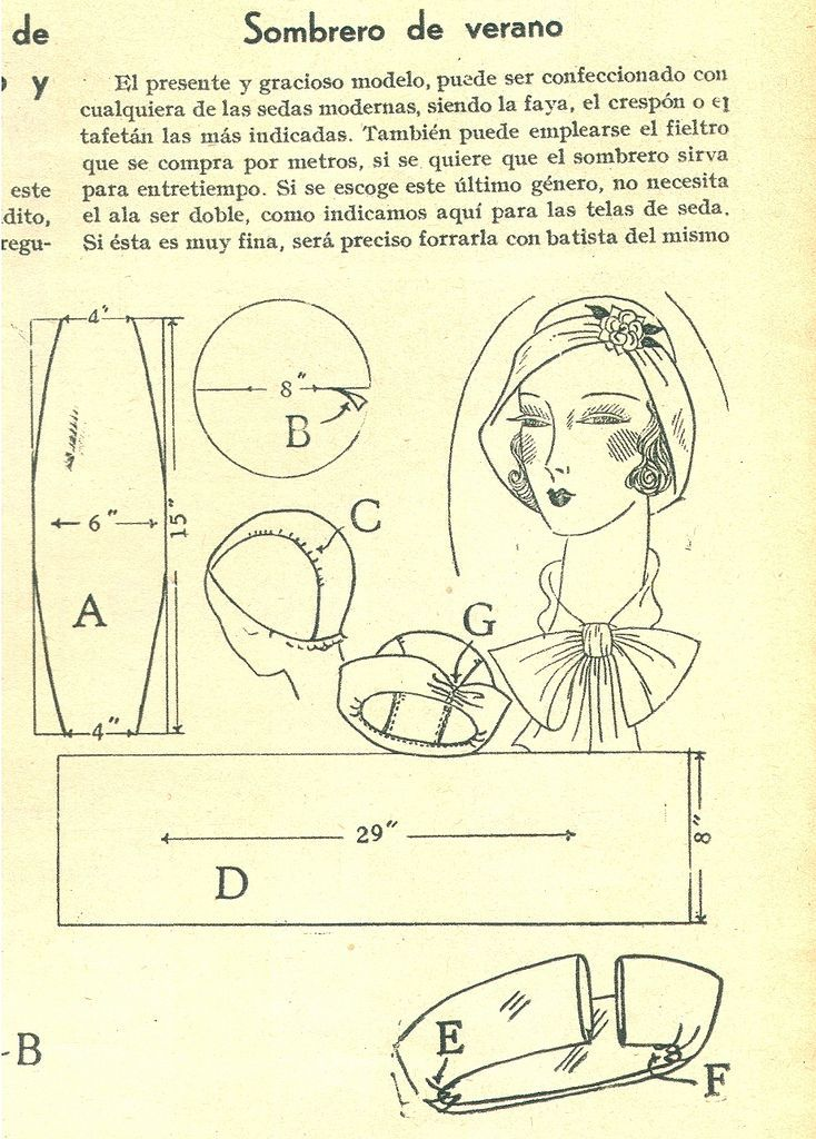 1931 ~ Verano hat vintage pattern | Gorros | Pinterest | Costura ...