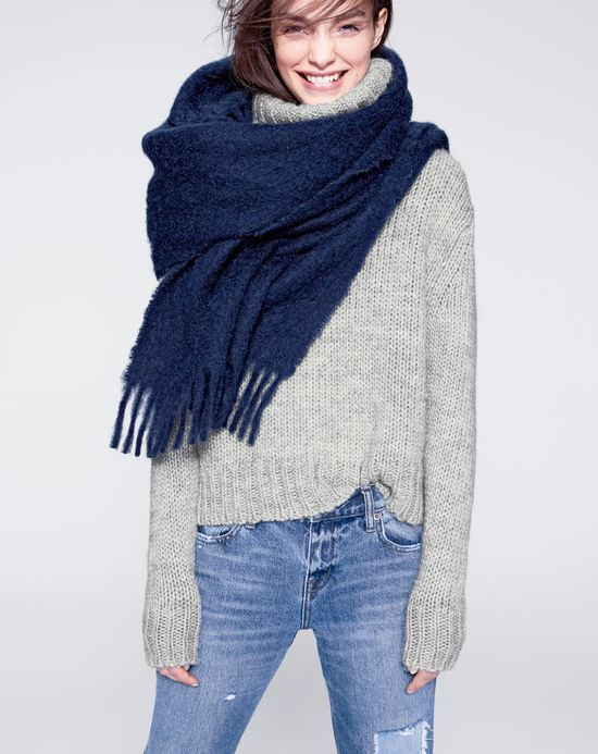 J.Crew women's chunky turtleneck sweater and brushed scarf. To preorder call 800 261 7422 or email erica@jcrew.com.