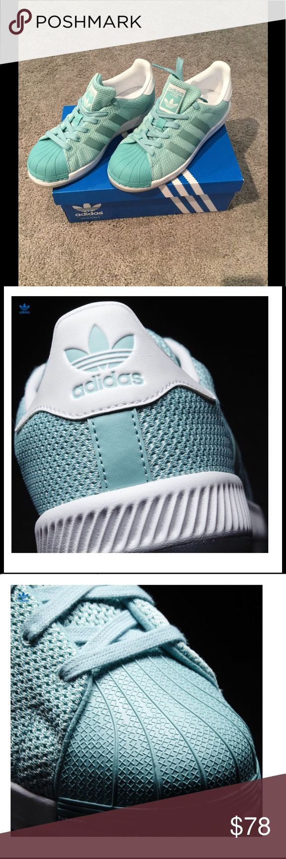 *limited edition* Adidas Superstar Bounce. Size 6. LIKE NEW! *RARE* women's adidas Superstar Bounce sneaker! Size 6. Mint green & white. Shoes were only worn once for a couple hours. Barely any scuffs or dirt on the sole. Comes in original box. (I find th