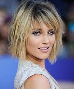 Chin-length uneven bob hair reduce with facet fringe – styled in messy look. When hair grows to shoulder it usually begins to flick out and will get tougher t