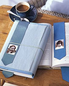 Fathers who read a lot will give this gift great reviews. Cut a piece of 2-inch-wide grosgrain ribbon 3 inches longer than twice the height of the book; snip a point at each end to prevent fraying. Sew a 1 1/2-inch-by-2-inch photograph to the ribbon by hand-stitching each corner. You might offer the bookmark with a new novel, wrapping the book with colored tissue paper and tucking the bookmark between two pages. Finish the gift with a simple ribbon or string.