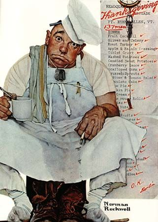 ...pooped from fixing thanksgiving dinner...norman rockwell...
