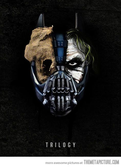Joker Scarecrow Bane | Batman movie villians. Not quotes, but a really cool image.