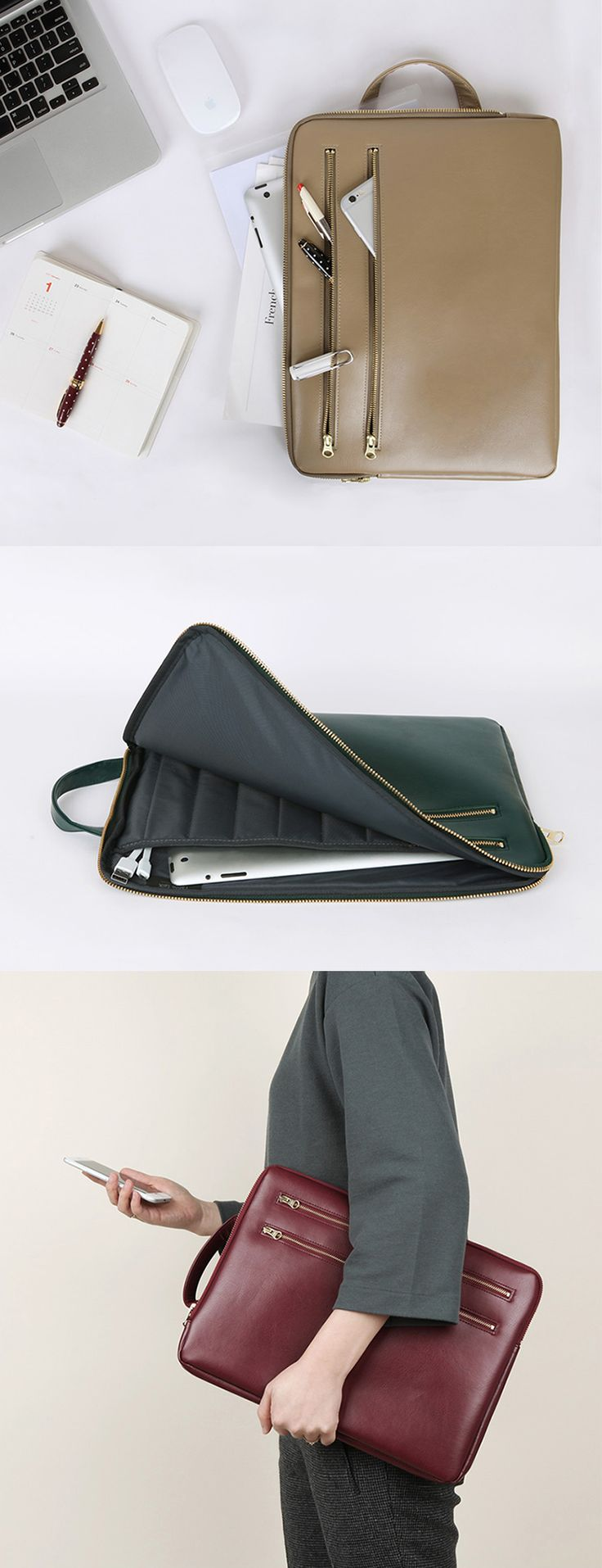 Table Talk Leather Brief Pouch