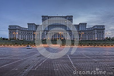 Bucharest, Romania - June 06, 2013: The famous Palace of the Parliament (Palatul Parlamentului), People's House (Casa Poporului) at twilight, the heaviest building in the world.