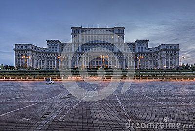 Bucharest, Romania - June 06, 2013: The famous Palace of the Parliament (Palatul Parlamentului), People's House (Casa Poporului) at twilight, the heaviest building in the world.