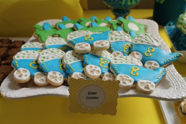 Blue and Yellow Baby Shower Party Ideas | Baby carriage, Babyshower and Babies