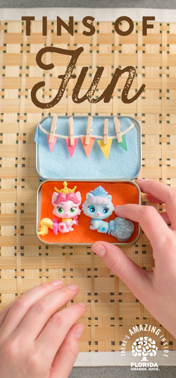 Keeps your child's hands and minds busy when on-the-go with Tins of Fun. They can design it how they want and use it as they please. Great for storing tiny toys, accessories and a perfect distraction to let mom and dad finish their meals. It's a tin of fun that's #AmazingInside! Enjoy a glass of Florida OJ while learning how to make one of your very own! Stress-free meal times make life easier – just like Florida Orange Juice.