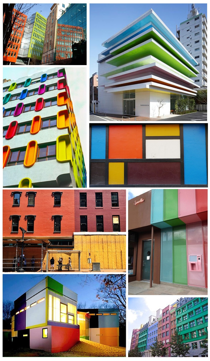 Block colour buildings. Block color inspiration.