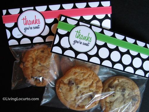Thank You Free Printable Tags | for packaging, use a ziploc baggie and some scrapbook paper folded over, plus decorative supplies making this a cute gift idea for bake sales etc. (print a label with the ingredients to stick to the backside.)