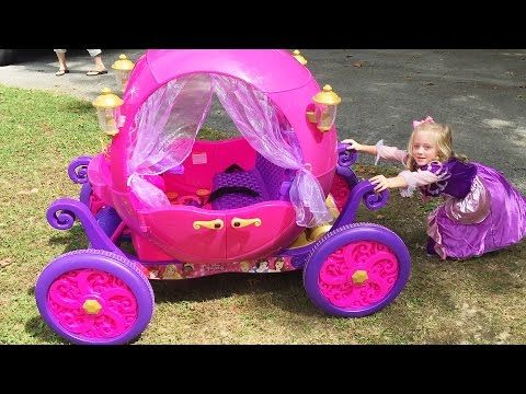 Disney Princess Carriage Ride On Toy Power Wheels Car at The Pirate Ship Playground Park for Kids - YouTube