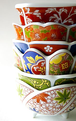 Japanese traditional pattern cups