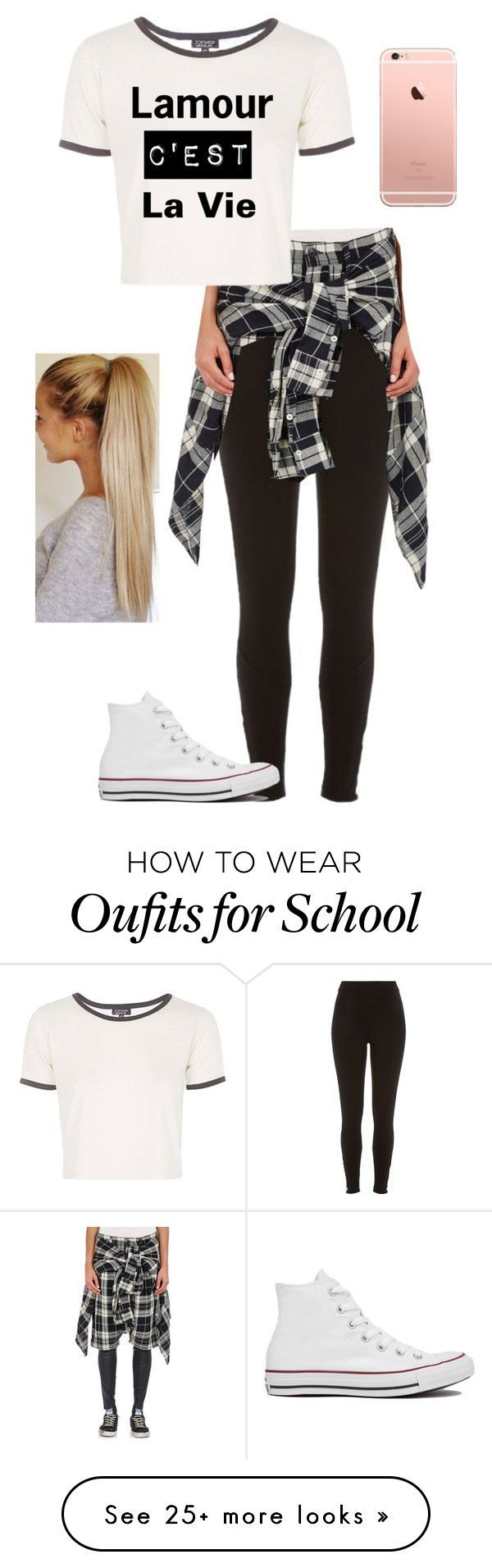 """School"" by mayaxoxo3 on Polyvore featuring River Island, R13, Topshop and Converse"