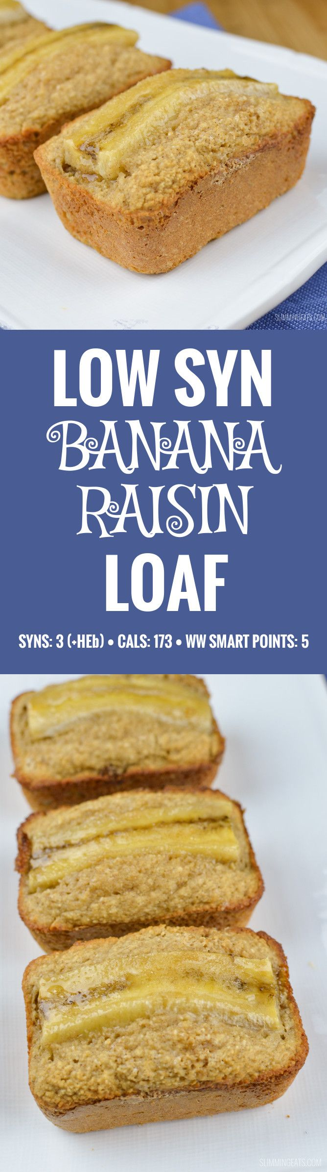 Slimming World Low Syn Mini Banana Raisin Loaf - gluten free, vegetarian, Slimming World and Weight Watchers friendly