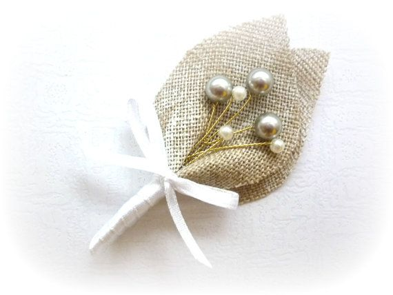 baby's breath #boutonniere Gray Swarovski Beaded Baby's Breath, Beige Burlap Wedding Men Accessories Boutonniere, Pin, Linen, Groomsman, Country Weddings, Shabby Chic