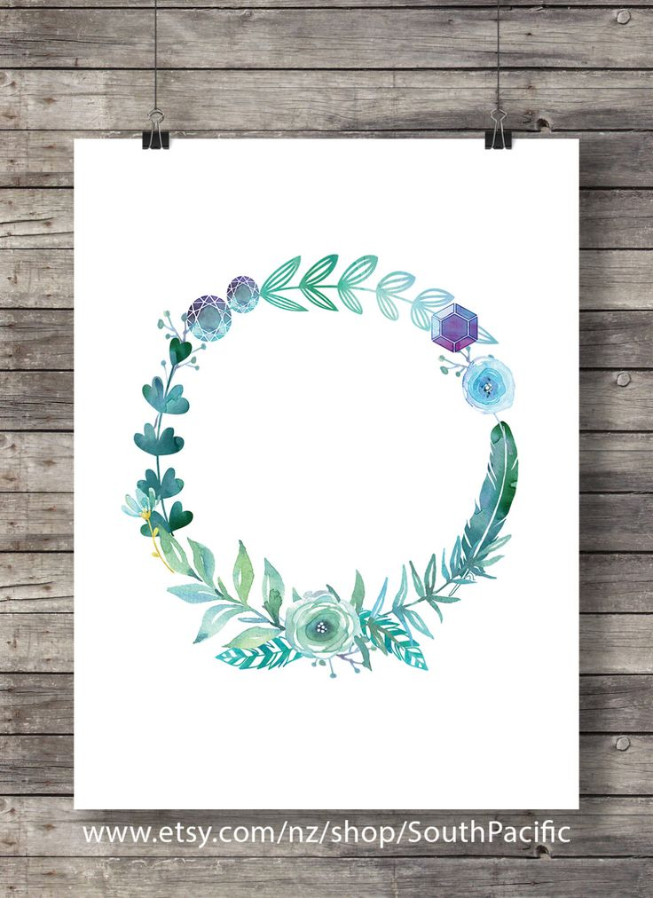 Watercolor gem wreath| Floral watercolor wreath | Printable wall art | Spring Art printable | watercolor spring print