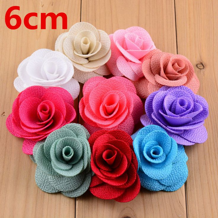 100pcs/lot 6.0cm Polyester Rosette Rose Flower Boutique girl Headband Decoration Women Dress Accessorie 23 Colors TH204